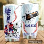 Personalized Ice Hockey Player And Puck Stainless Steel Tumbler Perfect Gifts For Ice Hockey Lover Tumbler Cups For Coffee/Tea, Great Customized Gifts For Birthday Christmas Thanksgiving
