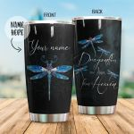 Personalized Dragonflies Are Kisses From Heaven Stainless Steel Tumbler Perfect Gifts For Dragonfly Lover Tumbler Cups For Coffee/Tea, Great Customized Gifts For Birthday Christmas Thanksgiving