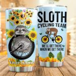 Personalized Sloth Sunflower Cycling Team We'll Get There Stainless Steel Tumbler Perfect Gifts For Sloth Lover Tumbler Cups For Coffee/Tea, Great Customized Gifts For Birthday Christmas Thanksgiving