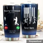 Personalized Fishing American Flag On My Other Line Stainless Steel Tumbler Perfect Gifts For Fishing Lover Tumbler Cups For Coffee/Tea, Great Customized Gifts For Birthday Christmas Thanksgiving