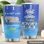 Personalized Adorable Koala I'm Just Saving Energy Stainless Steel Tumbler Perfect Gifts For Koala Lover Tumbler Cups For Coffee/Tea, Great Customized Gifts For Birthday Christmas Thanksgiving