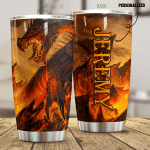 Personalized Ferocious Fire Dragon Stainless Steel Tumbler Perfect Gifts For Dragon Lover Tumbler Cups For Coffee/Tea, Great Customized Gifts For Birthday Christmas Thanksgiving