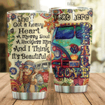 Personalized Hippie She's Got A Heavy Heart Stainless Steel Tumbler Perfect Gifts For Hippie Tumbler Cups For Coffee/Tea, Great Customized Gifts For Birthday Christmas Thanksgiving