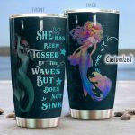 Personalized Mermaid She Has Been Tossed By The Waves Stainless Steel Tumbler Perfect Gifts For Mermaid Lover Tumbler Cups For Coffee/Tea, Great Customized Gifts For Birthday Christmas Thanksgiving