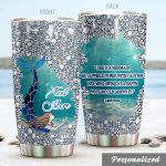 Personalized Glittered Mermaid Aproach Her With Caution Stainless Steel Tumbler Perfect Gifts For Mermaid Lover Tumbler Cups For Coffee/Tea, Great Customized Gifts For Birthday Christmas Thanksgiving
