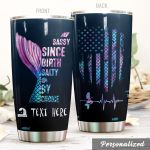 Personalized American Flag Mermaid Sassy Since Birth Stainless Steel Tumbler Perfect Gifts For Mermaid Lover Tumbler Cups For Coffee/Tea, Great Customized Gifts For Birthday Christmas Thanksgiving