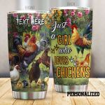 Personalized Flowers And Chicken Just A Girl Who Loves Chickens Stainless Steel Tumbler Perfect Gifts For Chicken Lover Tumbler Cups For Coffee/Tea, Great Customized Gifts For Birthday Christmas Thanksgiving