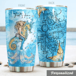 Personalized Mermaid Seahorse You Can Never Cross The Ocean Stainless Steel Tumbler Perfect Gifts For Mermaid Lover Tumbler Cups For Coffee/Tea, Great Customized Gifts For Birthday Christmas Thanksgiving
