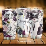 Personalized Skull And Flower Stainless Steel Tumbler Perfect Gifts For Skull Lover Tumbler Cups For Coffee/Tea, Great Customized Gifts For Birthday Christmas Thanksgiving