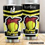Personalized Softball Mom Ball Wearing Headband Stainless Steel Tumbler Perfect Gifts For Softball Mom Tumbler Cups For Coffee/Tea, Great Customized Gifts For Birthday Christmas Thanksgiving Mother's Day