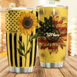 Personalized Sunflower American Flag Yellow Stainless Steel Tumbler Perfect Gifts For Sunflower Lover Tumbler Cups For Coffee/Tea, Great Customized Gifts For Birthday Christmas Thanksgiving
