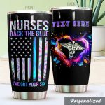 Personalized Nurse American Flag Back The Blue Stainless Steel Tumbler Perfect Gifts For Nurse Tumbler Cups For Coffee/Tea, Great Customized Gifts For Birthday Christmas Thanksgiving