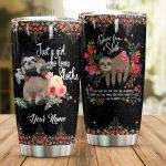 Personalized Sloth With Flower Enjoy The Little Things Stainless Steel Tumbler Perfect Gifts For Sloth Lover Tumbler Cups For Coffee/Tea, Great Customized Gifts For Birthday Christmas Thanksgiving