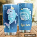 Personalized Dolphin Mom And Kid Stainless Steel Tumbler Perfect Gifts For Dolphin Lover Tumbler Cups For Coffee/Tea, Great Customized Gifts For Birthday Christmas Thanksgiving