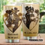 Personalized Skull Couple Until Death Do Us Part Stainless Steel Tumbler Perfect Gifts For Skull Lover Tumbler Cups For Coffee/Tea, Great Customized Gifts For Birthday Christmas Thanksgiving
