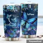 Personalized Blue Butterfly Angels Among Us Stainless Steel Tumbler Perfect Gifts For Butterfly Lover Tumbler Cups For Coffee/Tea, Great Customized Gifts For Birthday Christmas Thanksgiving