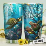 Personalized Sea Turtle In The Ocean Stainless Steel Tumbler, Tumbler Cups For Coffee/Tea, Great Customized Gifts For Birthday Christmas Thanksgiving