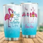 Personalized Flamingo Sandy Toes And Salty Lips Stainless Steel Tumbler, Tumbler Cups For Coffee/Tea, Great Customized Gifts For Birthday Christmas Thanksgiving