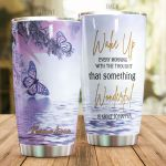 Personalized Purple Butterfly Wake Up Every Morning With The Thought Stainless Steel Tumbler Perfect Gifts For Butterfly Lover Tumbler Cups For Coffee/Tea, Great Customized Gifts For Birthday Christmas Thanksgiving
