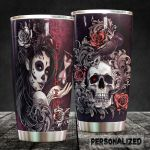 Personalized Skull And Raven Stainless Steel Tumbler Perfect Gifts For Skull Lover Tumbler Cups For Coffee/Tea, Great Customized Gifts For Birthday Christmas Thanksgiving