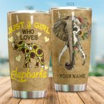 Personalized Elephant Skull Sunflower Pattern Loves Elephants Stainless Steel Tumbler Perfect Gifts For Elephant Lover Tumbler Cups For Coffee/Tea, Great Customized Gifts For Birthday Christmas Thanksgiving