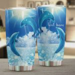 Personalized Dolphin Playing On The Sea Stainless Steel Tumbler, Tumbler Cups For Coffee/Tea, Great Customized Gifts For Birthday Christmas Thanksgiving