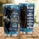 Personalized Black Cat He Is Sanity Stainless Steel Tumbler Perfect Gifts For Black Cat Lover Tumbler Cups For Coffee/Tea, Great Customized Gifts For Birthday Christmas Thanksgiving
