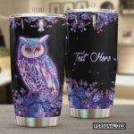 Personalized Purple Owl Flowers Stainless Steel Tumbler, Tumbler Cups For Coffee/Tea, Great Customized Gifts For Birthday Christmas Thanksgiving
