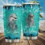 Personalized Just A Girl Who Loves Dolphins SStainless Steel Tumbler, Tumbler Cups For Coffee/Tea, Great Customized Gifts For Birthday Christmas Thanksgiving