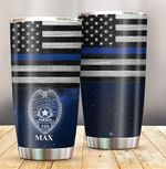 Personalized Police Officer Thin Blue Line Stainless Steel Tumbler, Tumbler Cups For Coffee/Tea, Great Customized Gifts For Birthday Christmas Thanksgiving
