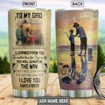 Personalized From Son To Dad So Much Of Me Is Made From Stainless Steel Vacuum Insulated, 20 Oz Tumbler Cups For Coffee/Tea For Fisherman Best Gifts From Son/Daughter To Dad On Father's Day, Birthday