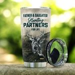 Father And Daughter Hunting Partners For Life Tumbler Cup Deer 20 Oz Tumbler Cup For Coffee/Tea Stainless Tumbler Cup For Father's Day Thanksgiving Birthday From Daughter To Father