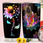Sunflower Mandala Sign Language Tumbler Cup You Are My Sunshine Stainless Steel Vacuum Insulated Tumbler 20 Oz Great Customized Gifts For Birthday Christmas Thanksgiving Coffee/ Tea Tumbler