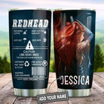 Redhead Caution Personalized Tumbler Cup Stainless Steel Vacuum Insulated Tumbler 20 Oz Tumbler For Coffee/Tea With Lid Best Gifts For Girl Redhead On Birthday Christmas Thanksgiving