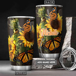 Personalized Sunflower Butterfly Tumbler Cup Stainless Steel Vacuum Insulated Tumbler 20 Oz Great Customized Gifts For Birthday Christmas Thanksgiving Coffee/ Tea Tumbler With Lid