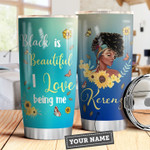 Sunflower Butterfly Black Women Picture Personalized  Tumbler Cup Black Is Beautiful Stainless Steel Insulated Tumbler 20 Oz Best Gifts For Girls Great Gifts For Birthday Christmas Thanksgiving