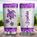 Sea Turtle Purple Personalized Tumbler Cup Stainless Steel Vacuum Insulated Tumbler 20 Oz Great Gifts For Birthday Christmas Thanksgiving Coffee/ Tea Tumbler With Lid Travel Tumbler