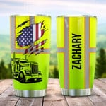 Personalized Green Truck Driver Stainless Steel Tumbler, Tumbler Cups For Coffee/Tea, Great Customized Gifts For Birthday Christmas Thanksgiving