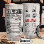Baseball Pitcher Nutrition Facts Personalized Baseball Pitching Tumbler Cup Stainless Steel Insulated Tumbler 20 Oz Great Gifts For Baseball Player Best Gifts For Birthday Christmas Thanksgiving