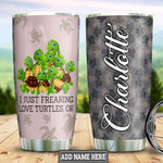 Personalized Green Sea Turtle Tumbler Cup I Just Freaking Love Turtles Stainless Steel Insulated Tumbler 20 Oz Best Gifts For Birthday Christmas Thanksgiving Tumbler For Camping Travelling