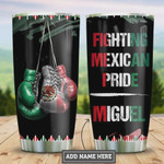 Personalized Mexico Boxing Tumbler Cup, Fighting Mexican Pride, Stainless Steel Vacuum Insulated Tumbler 20 Oz, Best Gifts For Boxing Lover, Coffee/ Tea Tumbler, Best Gifts For Birthday Christmas