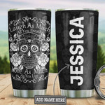 Personalized Sugar Skull Laugh As Much You Breathe, Stainless Steel Vacuum Insulated Tumbler 20 Oz, Skull With White Rose, Black Tumbler, Perfect Gifts For Horror Lovers, Gifts For Birthday Halloween