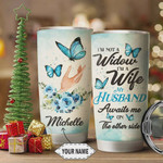 Personalized Widow Tumbler Cup, I'm Not A Widow My Husband Awaits Me On The Other Side, Blue Rose Butterfly, Stainless Steel Vacuum Insulated Tumbler 20 Oz, Gifts For Birthday Christmas Thanksgiving