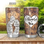 Wooden Couple I Choose You Tumbler Cup Stainless Steel Insulated Tumbler 20 Oz Special Gifts For Birthday Christmas Thanksgiving Coffee/ Tea Tumbler With Lid
