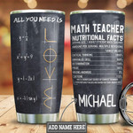 Personalized Math Teacher Love Tumbler Cup All You Need Is Stainless Steel Insulated Tumbler 20 Oz Great Customized Gifts For Birthday Christmas Thanksgiving Tumbler Travel Tumbler With Lid