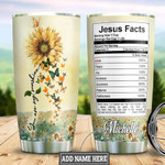 Butterfly Sunflower Faith Personalized Jesus Facts Tumbler Cup You Are My Sunshine Stainless Steel Insulated Tumbler 20 Oz Great Gifts For Birthday Christmas Thanksgiving Tumbler With Lid
