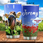 Personalized Cow And Poppies Tumbler Funny Cow Sticking Her Tongue Out Tumbler Cup Stainless Steel Tumbler, Tumbler Cups For Coffee/Tea, Great Customized Gifts For Birthday Christmas