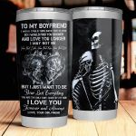 Personalized Skull Couple To My Boyfriend Tumbler I Love You Forever Stainless Steel Vacuum Insulated Double Wall Travel Tumbler With Lid, Tumbler Cups For Coffee/Tea, Perfect Gifts For Birthday Valentine Anniversary