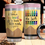 Teacher Personalized Tumbler Cup It Take A Big Heart To Teach Little Minds Stainless Steel Insulated Tumbler 20 Oz Great Customized Gifts For Birthday Christmas Thanksgiving Coffee Tumbler