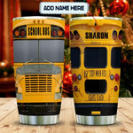 Personalzied Yellow School Bus Stop When Red Lights Flash Stainless Steel Tumbler, Tumbler Cups For Coffee/Tea, Great Customized Gifts For Birthday Christmas Thanksgiving